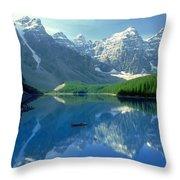 S.short Canoeist, Moraine Lake, Ab, Fl Throw Pillow by Steve Short