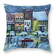 Snowing In Concord Center Throw Pillow