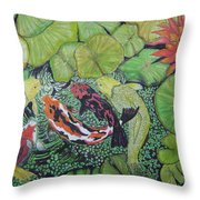 Summer Pond At Lunchtime Throw Pillow