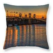 St Augustine Bridge Of Lions Sunset Dsc00433_16 Throw Pillow
