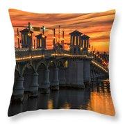 St Augustine Bridge Of Lions Sunset Dsc00565_16 Throw Pillow