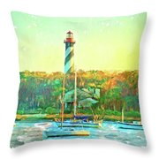 St Augustine Lighthouse Waterscaped Throw Pillow