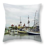 St Augustine Marina From The Water Throw Pillow