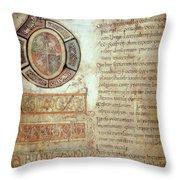 St. Bede, Manuscript Throw Pillow