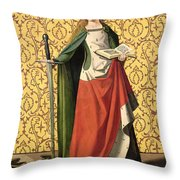 St. Catherine Of Alexandria Throw Pillow by Josse Lieferinxe
