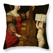 St. Cecilia With An Angel Holding A Musical Score Throw Pillow by Domenichino