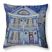 St. Charles Blue House Throw Pillow