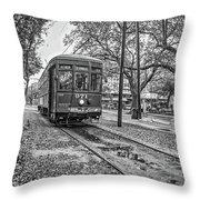 St. Charles Streetcar Monochrome Throw Pillow