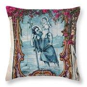 St Christovao -st Christopher Throw Pillow