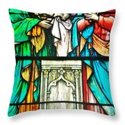 St. Edmond's Church Stained Glass Window - Rehoboth Beach Delaware Throw Pillow