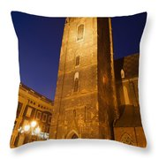 St. Elizabeth's Church Tower At Night In Wroclaw Throw Pillow