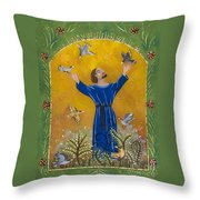 St. Francis And Birds Throw Pillow