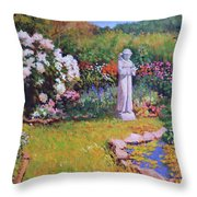 St. Francis In The Garden Throw Pillow