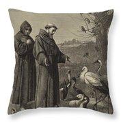 St Francis Preaches To The Birds  Throw Pillow