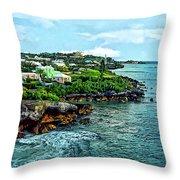 St. George Bermuda Shoreline Throw Pillow