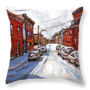St Henri Depanneur Canadian Paintings Mini Montreal Masterpieces For Sale Petits Formats A Vendre  Throw Pillow