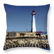 St. Ignace Lighthouse Throw Pillow