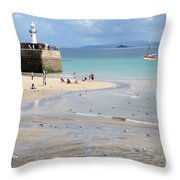 St. Ives, Harbour Beach Throw Pillow