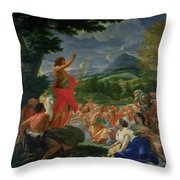 St John The Baptist Preaching Throw Pillow