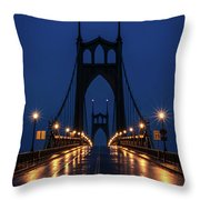 St Johns Bridge Shine Throw Pillow