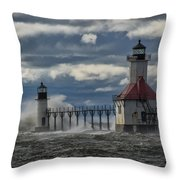 Big Waves - St. Joseph Lighthouse Throw Pillow