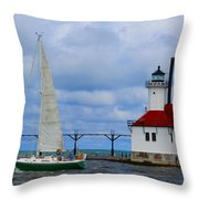 St. Joseph Lighthouse Sailboat Throw Pillow