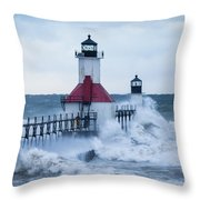 St. Joseph Lighthouse With Waves Throw Pillow