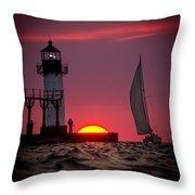St. Joseph Michigan Sail Throw Pillow