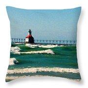 St. Joseph River Lighthouse Throw Pillow