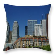 St Lawrence Market And Gooderham Flatiron Building With Cn Tower Throw Pillow