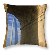 St Louis Arch And Eads Bridge   Throw Pillow