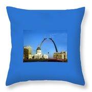 St. Louis Arch Construction Throw Pillow