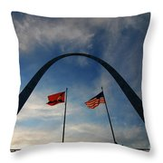 St Louis Arch Metal Gateway Landmark Throw Pillow