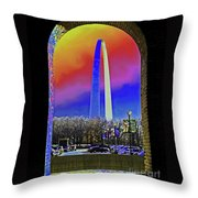 St Louis Arch Rainbow Aura  Throw Pillow