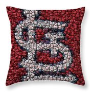 St. Louis Cardinals Bottle Cap Mosaic Throw Pillow