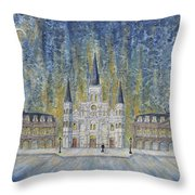 St. Louis  Cathedral And Old Government Buildings Throw Pillow