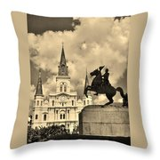 St. Louis Cathedral And Statue Throw Pillow