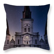 St. Louis Cathedral At Night Throw Pillow
