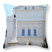 St. Louis Cathedral Back Lawn Throw Pillow