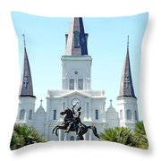 St. Louis Cathedral From Jackson Square Throw Pillow