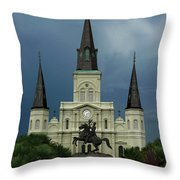 St Louis Cathedral In Jackson Square Throw Pillow