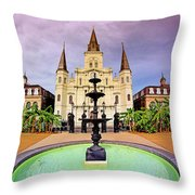 St. Louis Cathedral - New Orleans - Louisiana Throw Pillow