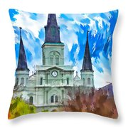 St. Louis Cathedral - Paint Throw Pillow