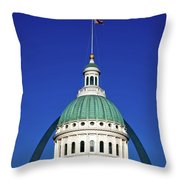St Louis City Hall With Arch In Background Throw Pillow