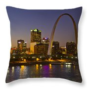 St Louis Skyline From Poplar Street Bridge Throw Pillow