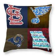 St Louis Sports Fan Recycled Vintage Missouri License Plate Art Cardinals Blues Rams Throw Pillow