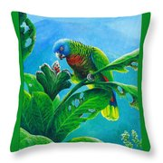 St. Lucia Parrot And Bwa Pain Marron Throw Pillow