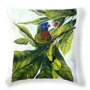 St. Lucia Parrot And Fruit Throw Pillow