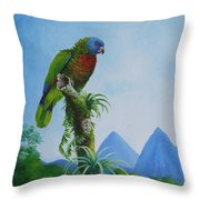 St. Lucia Parrot And Pitons Throw Pillow