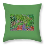 St. Luke Garden Sanctuary Throw Pillow